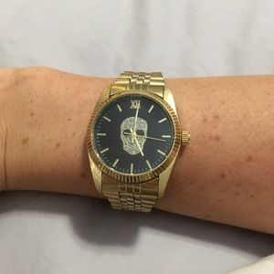Black and Gold Skull Watch